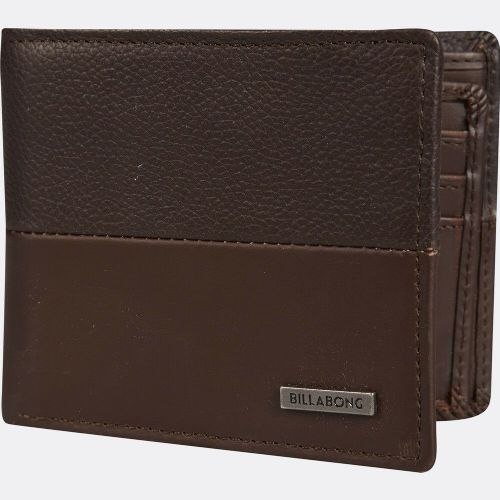 REDUCED.BILLABONG MENS WALLET.FIFTY50 REAL LEATHER BROWN CARD NOTE PURSE S20F 1